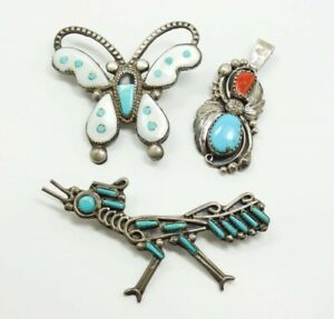 Vintage Resale Lot Three American Indian Sterling Silver ...