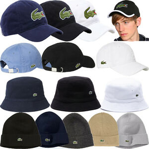 MENS LACOSTE HATS   WOOLY HATS - ADJUSTABLE STRAP BASEBALL CAPS ... 3fed2d6212b