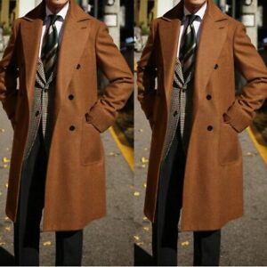 Men-Winter-Brown-Wool-Overcoat-Double-breasted-Wide-Lapel-Formal-Long-Suits