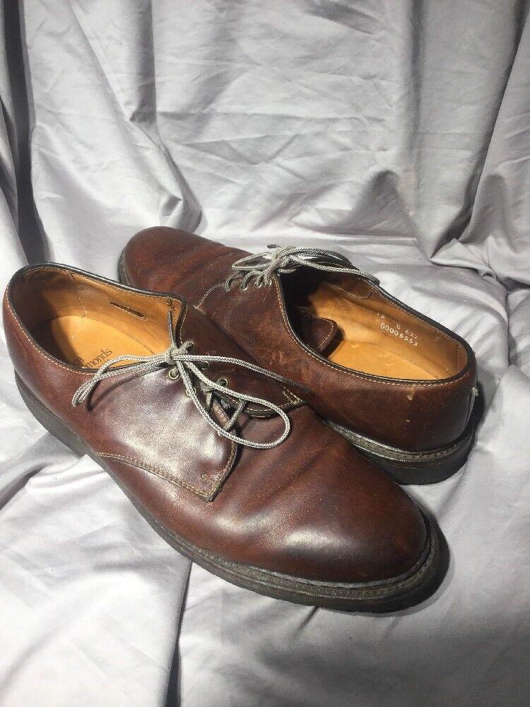 Mens 12 D Allen Edmonds Fulton Cognac Brown Oxfords Dress Shoes