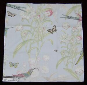 FABRIC-SAMPLE-SWATCH-Meadow-Sky-Blue-100-Cotton-Birds-Nature-Butterfly-Quilt