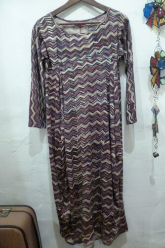 Nila 4 Rubia Handblock Jersey Purple 3 Zigzag Cotton Printed Dress Long Sleeve xxwHZ
