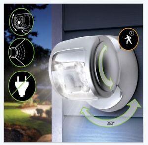 Motion-Sensor-Light-6-LED-Silver-Security-Indoor-Outdoor-Light-Walkway-Garden
