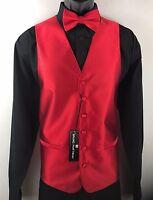Men's 4 Piece Tuxedo Formal Vest Tie Bow Tie Hanky Red Bruno Piattelli Roma
