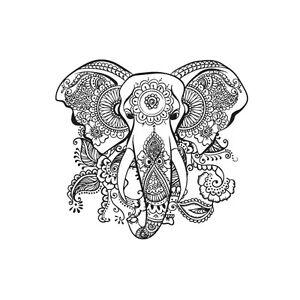 Boho Indian Elephant Mandala Summer Nature Animal Iron On ...