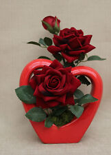 ARTIFICIAL SILK RED SUPREME OPEN ROSE IN RED HEART SHAPE VASE 16CM - GIFTS