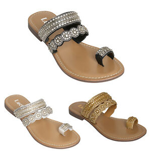2009a59ac Image is loading LADIES-FLAT-SANDALS-DIAMANTE-FANCY-PARTY-WEDDING-SUMMER-