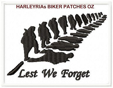 LEST WE FORGET NZ ........ MILITARY BIKER PATCH