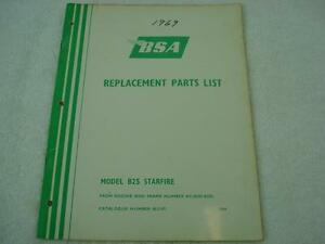 BSA-1969-B25-STARFIRE-OEM-SPARES-REPLACEMENT-LIST-PARTS-CATALOG-MANUAL-NO-5197
