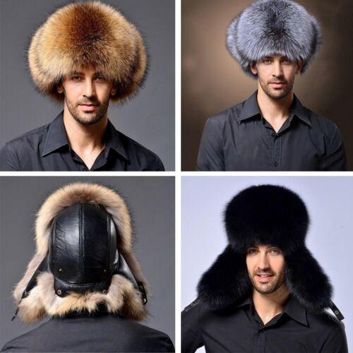 Ushanka Men/'s Winter Real Raccoon Fur/&Lamb Leather Russian Cossack Trapper Hats