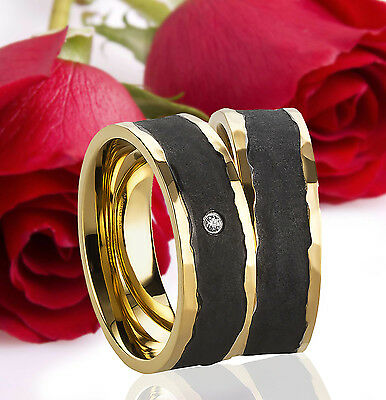 2 Ringe Eheringe Trauringe Verlobungsringe Gold Plattiert Gravur GRATIS TE3206