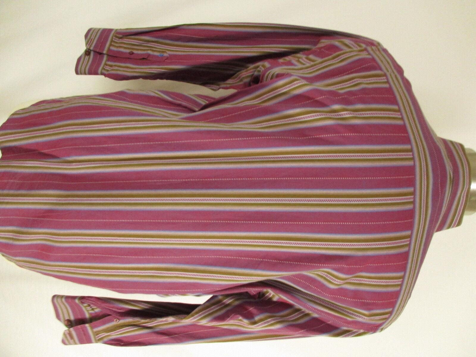 Robert Graham Uomo rosso Stripe Stripe Stripe Flip Cuff Shirt L 9e43b9