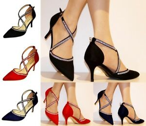 Womens-Ladies-Diamante-Suede-Party-Evening-Low-Mid-Heel-Court-Shoes-Size-222