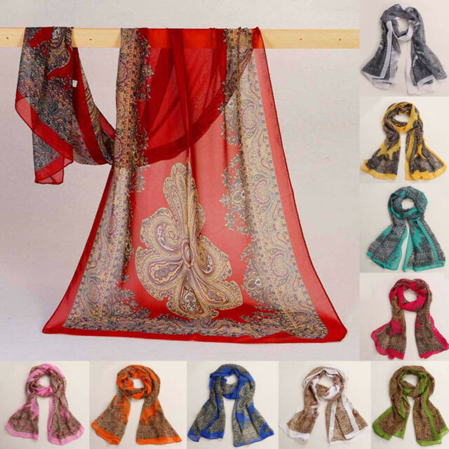 New Style Women Fashion Long Soft Scarf Chiffon Scarf Wrap Shawl Stole Scarves