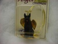 Giant Schnauzer Black Dog Angel Ornament Figurine Christmas Cropped Puppy