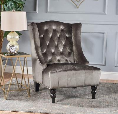 Chair Wingback Gray Velvet Low Seat