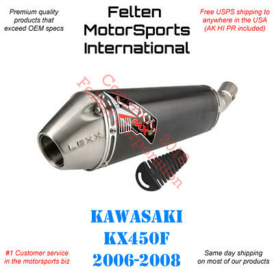 Lexx MXe Slip On Silencer Muffler Mid Pipe Kawasaki KX450F KX 450F KXF 2006-2008