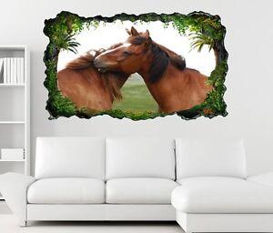 3D Adesivo murale Cavalli Amore Animale Hengst Giumenta Coppia Parete 11H379