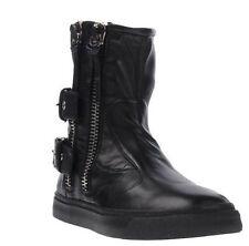 GIUSEPPE ZANOTTI Italian Nappa Calf Leather Zip-Up Buckle Boots 10.5 US 43.5 EU
