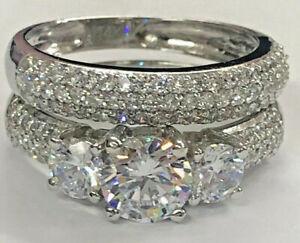 3-56ct-Round-cut-Three-stone-Diamond-Engagement-Ring-Band-Solid-14K-White-Gold
