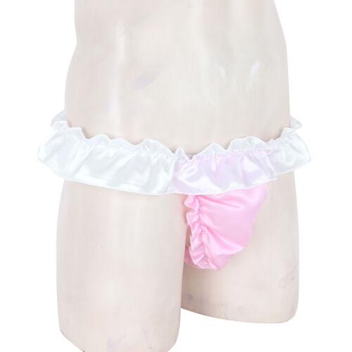 Mens Ruffled Frilly Briefs Sissy Pouch Panties Maid Underwear Thongs Crossdress