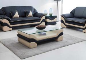 Travailleur Classique Luxe Createur Table Basse Canapé Salon Table Cuir Tables Verre-afficher Le Titre D'origine