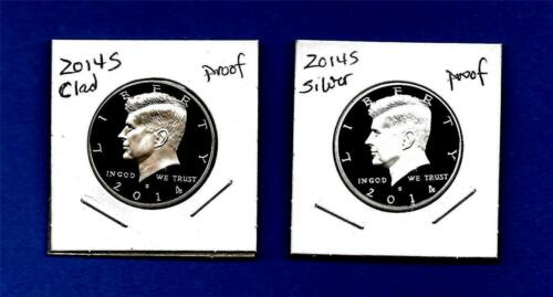 Gem Proof-In Stock-Two Coins 2014 Clad AND Silver Proof Kennedy Half Dollars