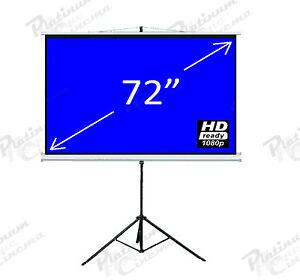 New-72-034-Portable-Tripod-Projection-Screen-home-cinema-Projector-Matt-White-4-3