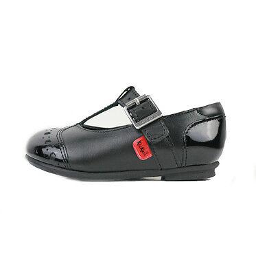 Zapatos de Cuero Kickers lenkah T Bar Infantes Negro