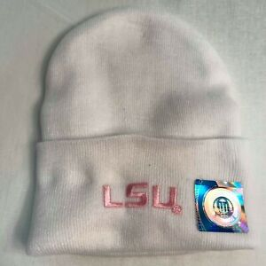 LSU-Creative-Knitwear-White-Newborn-Cap-with-LSU-in-Pink