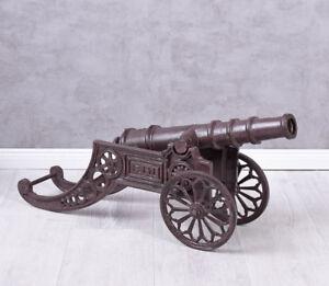 Gartenkanone-XXL-Gusseisen-Kanone-Haubitze-Metallkanone-Dekokanone-Antik-80cm