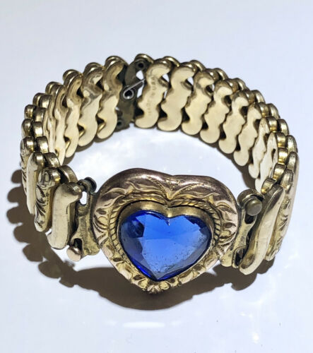 Blue Glass Heart Vintage Expansion Sweetheart Brac