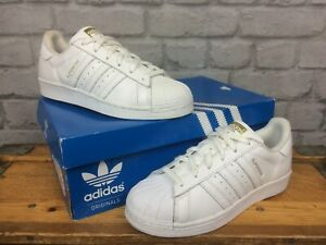 ADIDAS LADIES UK 5 EU 38 WHITE LEATHER SUPERSTAR GLOSSY TOE TRAINERS RRP £80