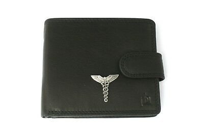 Caduceus Staff Mens Leather Wallet Black Or Brown Caduceus Gift 53