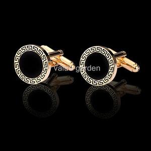 Honey-Bear-Mens-Luxury-Classic-Round-Black-With-Gold-carved-Wedding-Cufflinks
