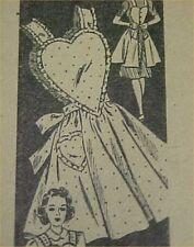 SALE Vintage Bib Apron Full Size Sewing Fabric Pattern Heart Bodice & Back Craft