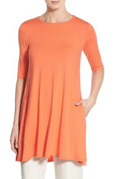 Eileen Fisher Guava Round Neck Elbow-Sleeve A-Line Tunic Dress Top PS, PM