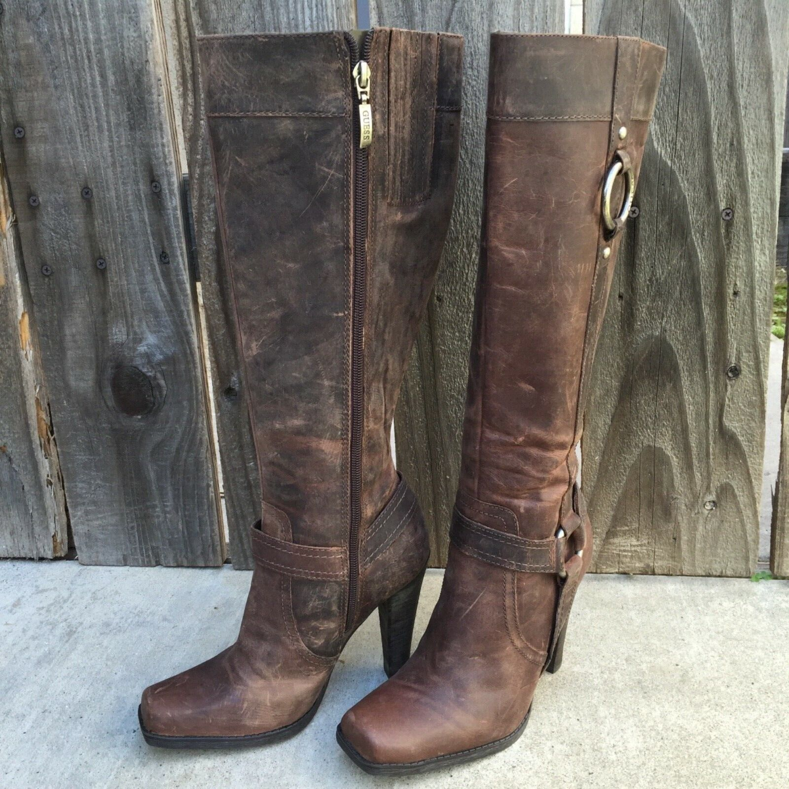 Genuine Leather Guess Biker Boots Brown Distressed 6-6.5 Harness Tall