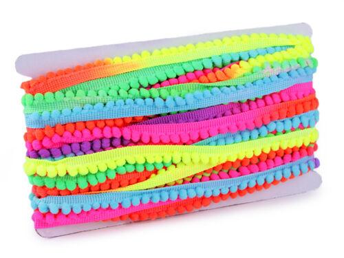 Bommelborte 2m x 14mm Pompon Bommeln Bommelband bunt regenbogenfarben