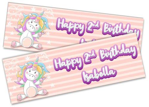 x2 Personalised Birthday Banner Unicorn Children Kids Party Decoration Poster 4