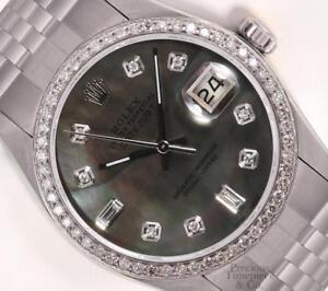 Rolex-Datejust-S-Steel-36mm-Watch-Black-MOP-Baguette-Diamond-Dial-Diamond-Bezel