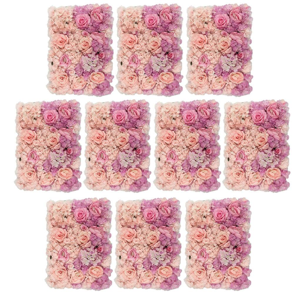 10Pcs Soie Artificielle Fleur panneaux muraux mariage décoration 60 x 40 cm