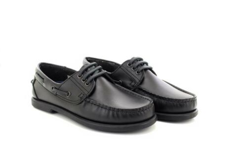 Dek Elliot M095 Brown Black Leather Moccasin Hand Stitched Boat Shoes Black Leat