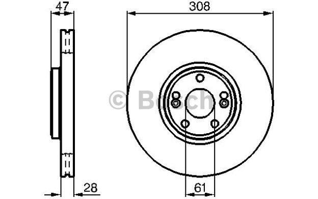 BOSCH Disco de freno (x2) 308mm ventilado RENAULT LAGUNA ESPACE 0 986 479 199