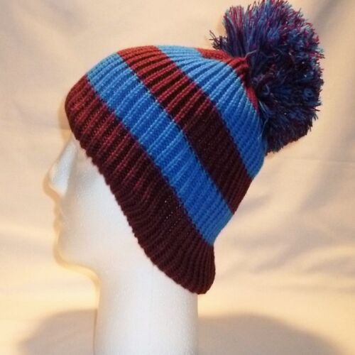 LUXURY BOBBLE HAT BEANIE POM CHILDRENS BOYS GIRLS KIDS RETRO FOOTBALL WINTER