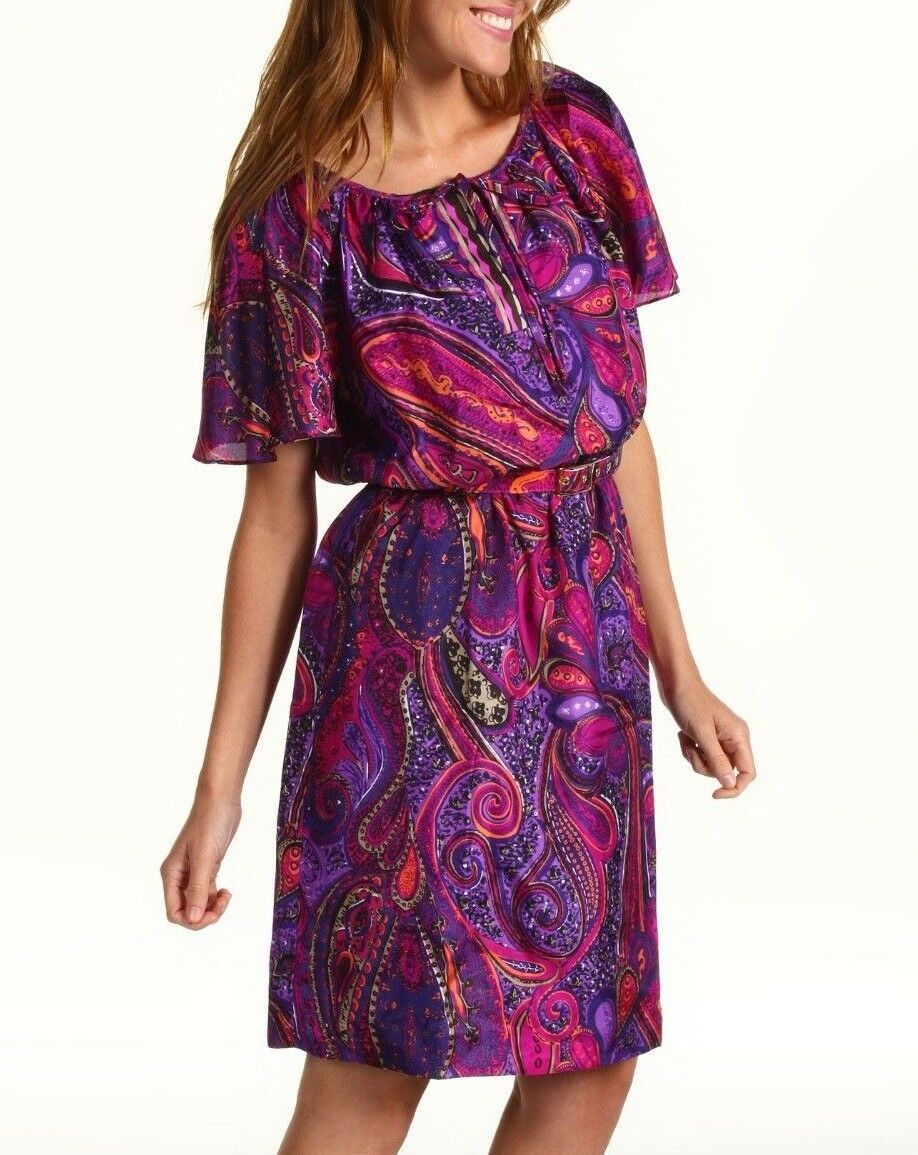 Trina Turk Nuriya Silk Paisley Print Belted Dress in Ultra lila Sz 4