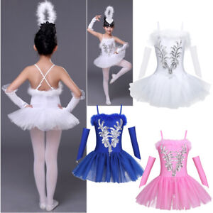 74523bbe7 Kids Girls Ballet Dance Leotard Dress Ballerina Tutu Party Dancing ...