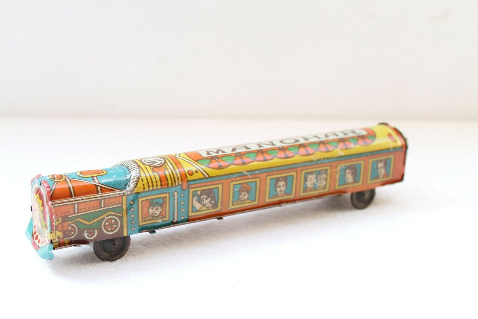 Vintage Old Long colorful Litho Print Passenger Train Tin Toy Collectible NH3175