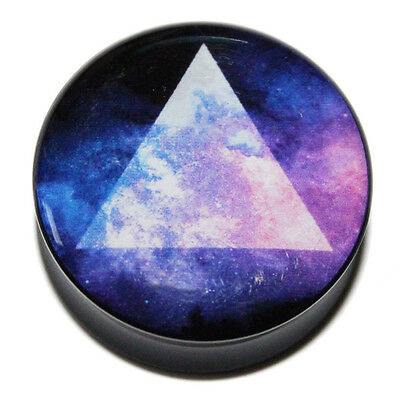 Prism in Space Triangle Purple Black Acrylic Ear Plug Flesh Tunnel 8mm-25mm