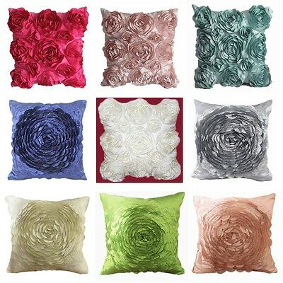 Polyester Taffeta Rose Couch Cushion Cover Home Decor Throw Pillow Case 9 Colors